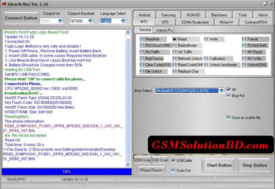 Symphony D54i MT6260 flash file 100%Tested | GSMSolutionBD