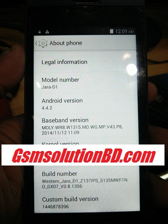 Western Jara D1 MT6572 4.4.2 100% tested firmware file