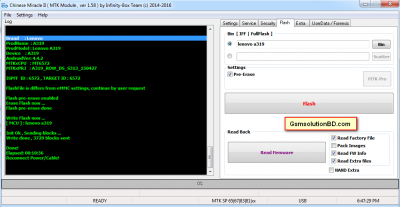Lenovo A319 FLash File Read Done by Cm2