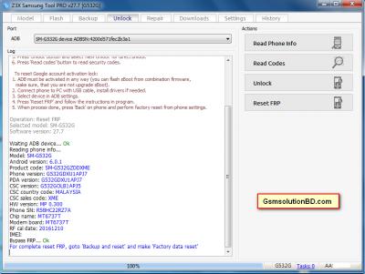 Samsung SM-G532G FRP Unlock done by Z3X